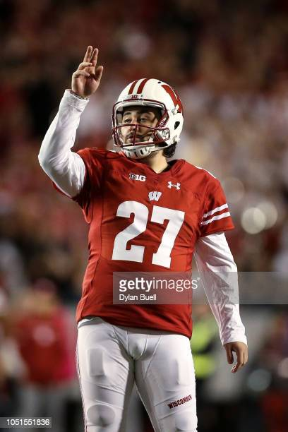 Rafael Gaglianone of the Wisconsin Badgers celebrates after kicking a field goal in the first quarter against the Nebraska Cornhuskers at Camp...