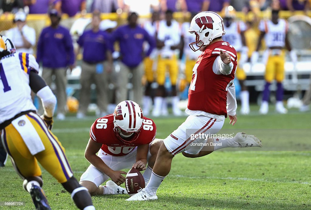 Rafael Gaglianone #27 of the Wisconsin Badgers kicks a 47-yard field goal during the fourth quarter to give the Wisconsin Badgers a 16-14 lead against the LSU Tigers at Lambeau Field on September 3, 2016 in Green Bay, Wisconsin.