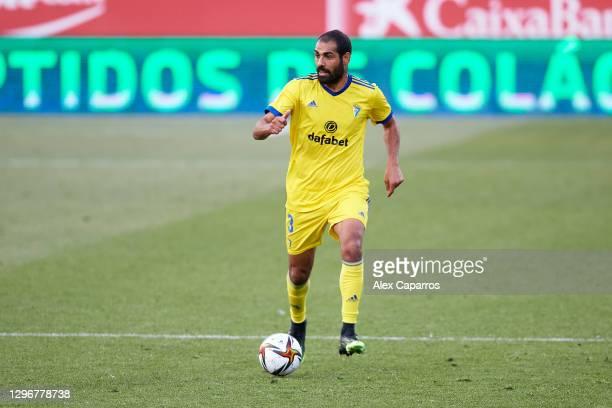 Rafael Gimenez 'Fali' of Cadiz CF runs with the ball during the Copa del Rey round of 32 match between Girona FC and Cadiz CF at Montilivi Stadium on...