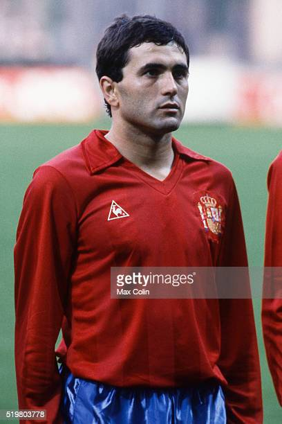 Rafael Gordillo during the Football European Championship between Romania and Spain at Stade Geoffroy Guichard SaintEtienne France on 14 June 1984