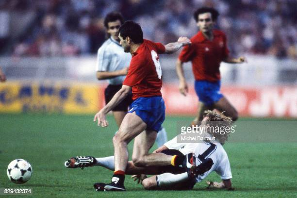 Rafael Gordillo of Spain and Andreas Brehme of West Germany during the European Championship match between Spain and West Germany at Parc des Princes...