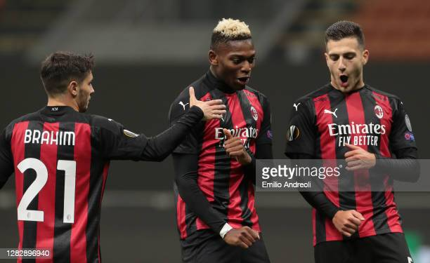Rafael Leao of AC Milan celebrates after scoring the third goal of his team with his team-mates Diogo Dalot and Brahim Diaz during the UEFA Europa...