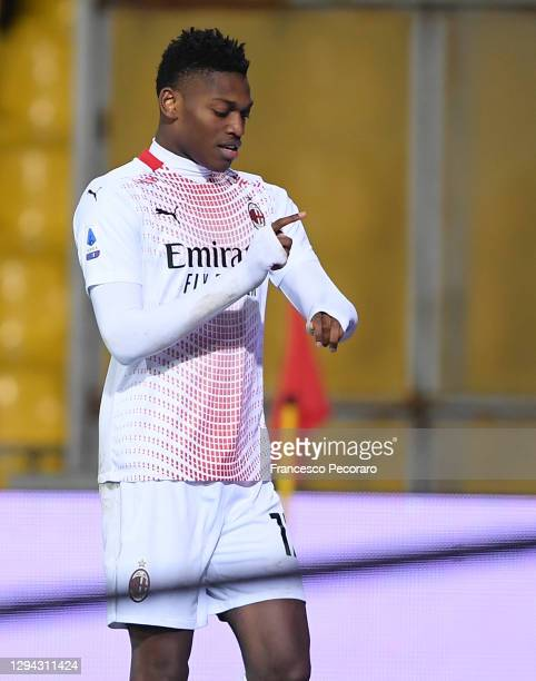 Rafael Leao of AC Milan celebrates after scoring their sides second goal during the Serie A match between Benevento Calcio and AC Milan at Stadio...