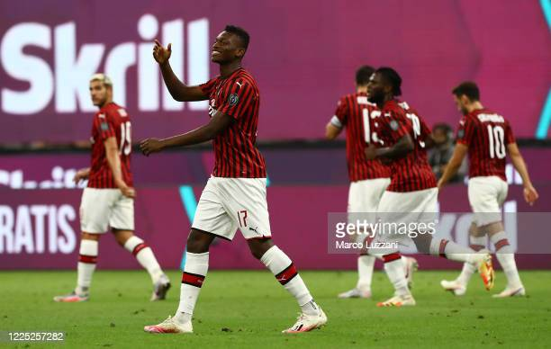 Rafael Leao of AC Milan celebrates his goal during the Serie A match between AC Milan and Juventus at Stadio Giuseppe Meazza on July 7 2020 in Milan...