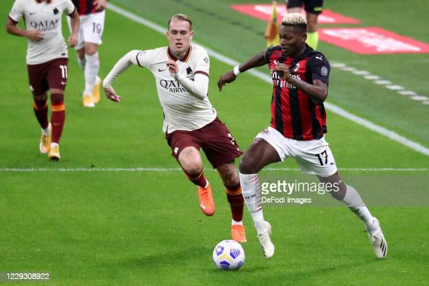 Rafael Leao of AC Milan controls the ball during the Serie A match between AC Milan and AS Roma at Stadio Giuseppe Meazza on October 26 2020 in Milan...