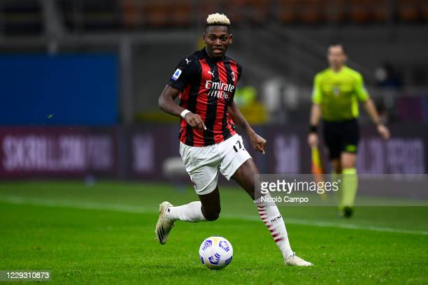Rafael Leao of AC Milan in action during the Serie A football match between AC Milan and AS Roma The match ended 33 tie