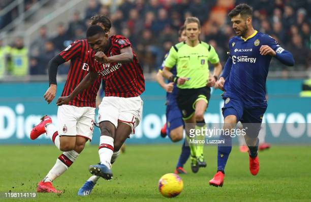 Rafael Leao of AC Milan kicks a ball during the Serie A match between AC Milan and Hellas Verona at Stadio Giuseppe Meazza on February 2 2020 in...
