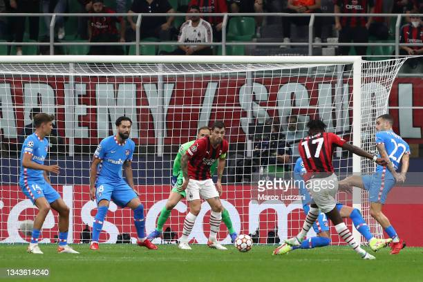Rafael Leao of AC Milan scores their side's first goal during the UEFA Champions League group B match between AC Milan and Atletico Madrid at...