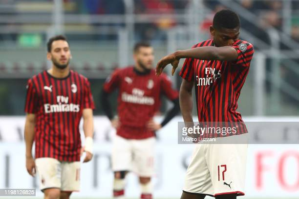 Rafael Leao of AC Milan shows his dejection during the Serie A match between AC Milan and Hellas Verona at Stadio Giuseppe Meazza on February 2 2020...