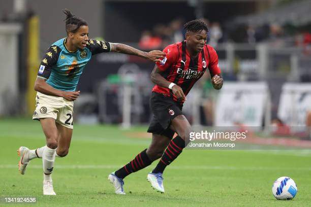 Rafael Leao of AC Milan takes on Tyronne Ebuehi of Venezia FC during the Serie A match between AC Milan and Venezia FC at Stadio Giuseppe Meazza on...