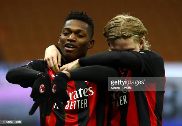 Rafael Leao of Milan celebrates with teammate Jens Petter Hauge after scoring their sides first goal during the Serie A match between AC Milan and...