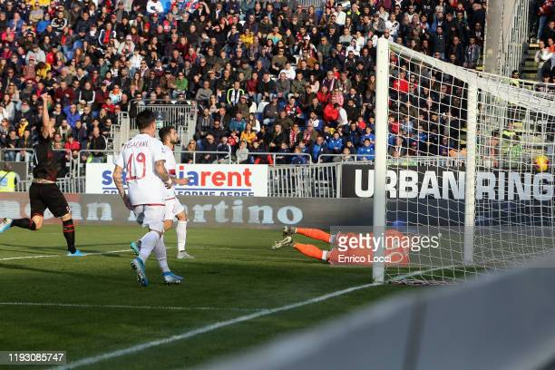 Rafael Leao of Milan scores his goal 0-1 during the Serie A match between Cagliari Calcio and AC Milan at Sardegna Arena on January 11, 2020 in...