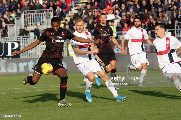 Rafael Leao of Milan scores his goal 01during the Serie A match between Cagliari Calcio and AC Milan at Sardegna Arena on January 11 2020 in Cagliari...