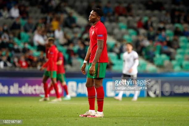 Rafael Leao of Portugal reacts after Germany's first goal scored by Lukas Nmecha during the 2021 UEFA European Under-21 Championship Final match...