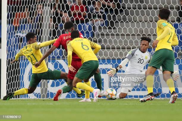 Rafael Leao of Portugal scores his team's first goal during the 2019 FIFA U20 World Cup group F match between South Africa and Portugal at...
