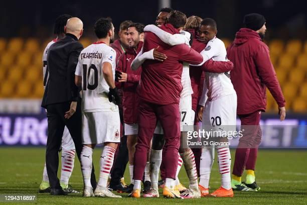 Rafael Leão of AC Milan celebrate with his teammates the victory of the Serie A match between Benevento Calcio and AC Milan at Stadio Ciro Vigorito...