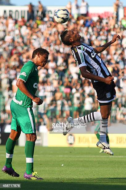 Rafael Lima of the Chapecoense and Marcao of Figueirense compete for a header during the between Figueirense and Chapecoense for the Brazilian Series...