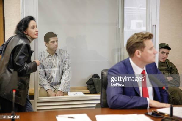 Rafael Lusvarghi and his lawyer Valentyn Rybin are seen during the trial in Kyiv Ukraine May 11 2017 Appeal court of Kyiv hears the case on Brazilian...