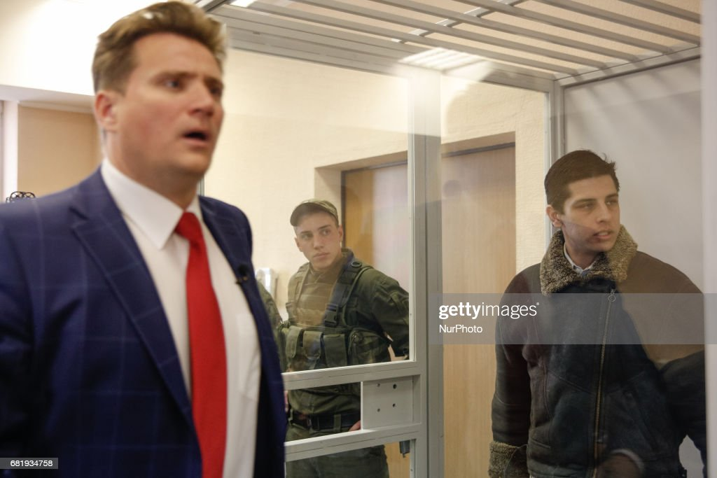 Rafael Lusvarghi (R) and his lawyer Valentyn Rybin (L) are seen during the trial in Kyiv, Ukraine, May 11, 2017. Appeal court of Kyiv hears the case on Brazilian Rafael Lusvarghi sentenced for 13 years of fighting together with Russia-backed separatists in Ukraine.