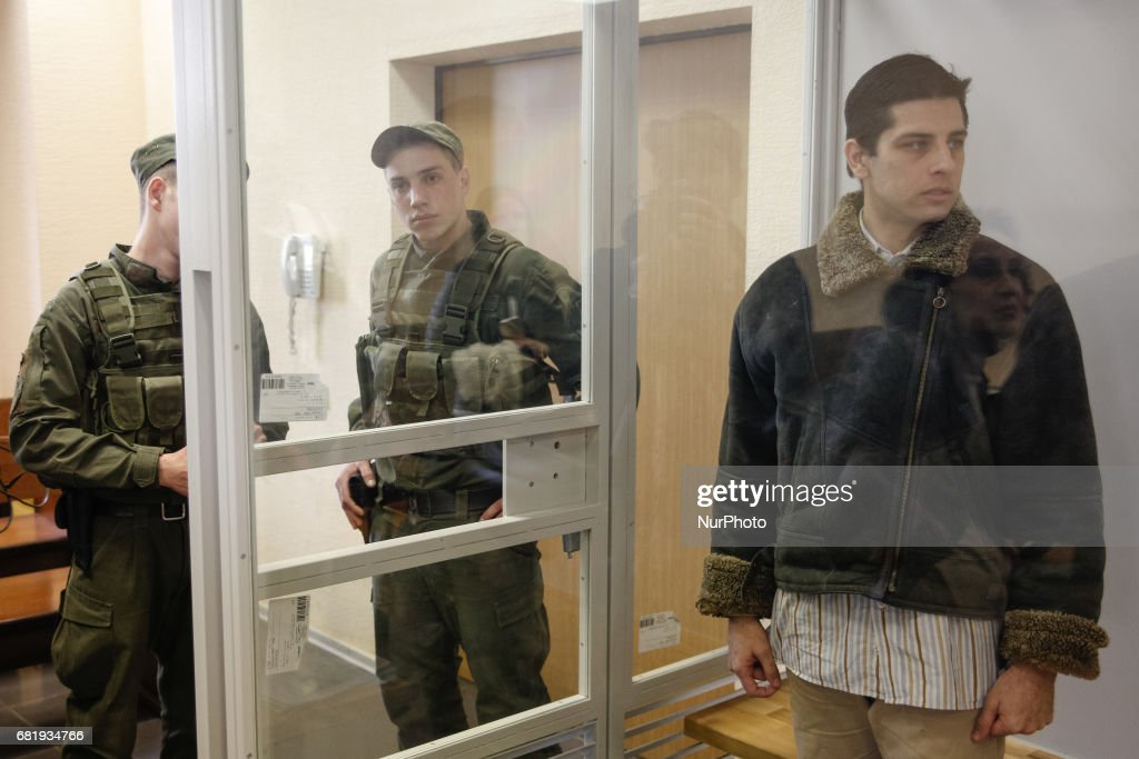 Rafael Lusvarghi is seen in the courtroom cage in Kyiv, Ukraine, May 11, 2017. Appeal court of Kyiv hears the case on Brazilian Rafael Lusvarghi sentenced for 13 years of fighting together with Russia-backed separatists in Ukraine.