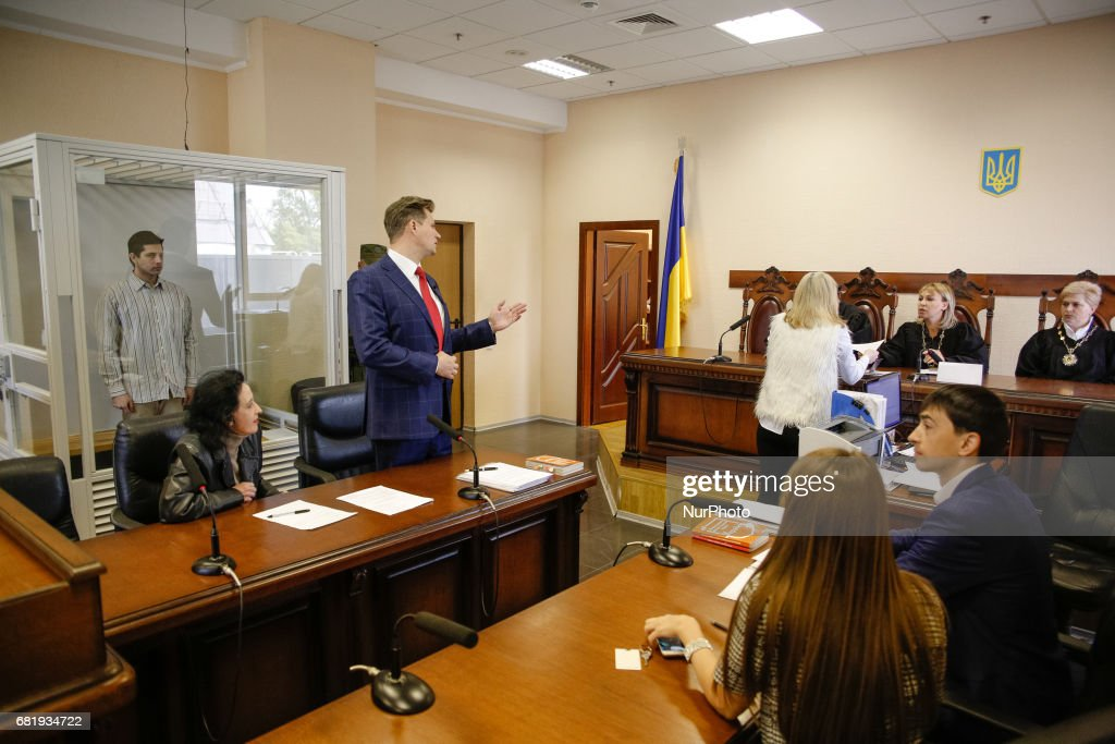 Rafael Lusvarghi (L) lawyer Valentyn Rybin (C) has a speech during the trial in Kyiv, Ukraine, May 11, 2017. Appeal court of Kyiv hears the case on Brazilian Rafael Lusvarghi sentenced for 13 years of fighting together with Russia-backed separatists in Ukraine.
