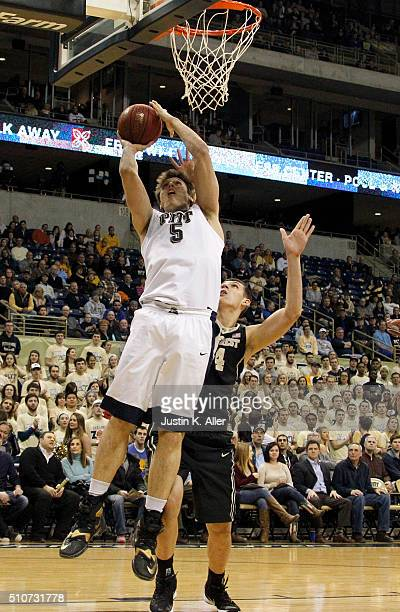 Rafael Maia of the Pittsburgh Panthers lays up a shot against the Wake Forest Demon Deacons during the game at Petersen Events Center on February 16...