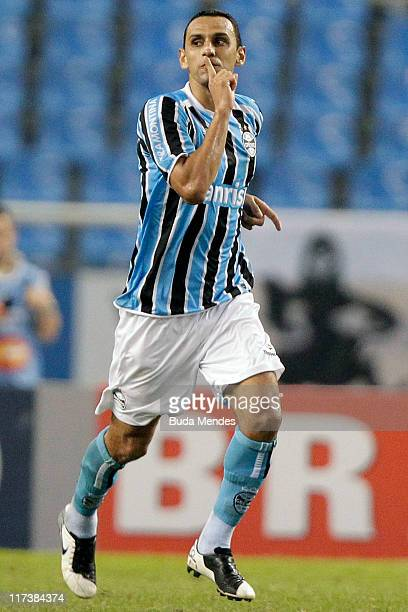 Rafael Marques of Gremio celebrates a scored goal during a match as part of Brazilian Championship Serie A at Engenhao Stadium on June 26 2011 in Rio...