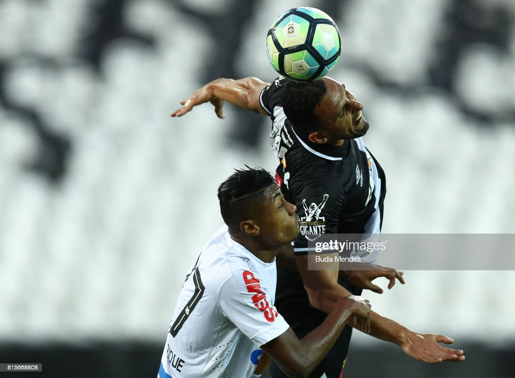 Rafael Marques (R) of Vasco da Gama struggles for the ball with Bruno Henrique of Santos during a match between Vasco da Gama and Santos as part of Brasileirao Series A 2017 at Nilton Santos Stadium on July 16, 2017 in Rio de Janeiro, Brazil.