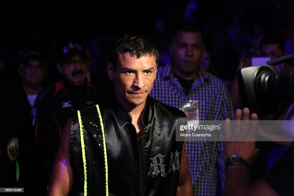 Rafael Marquez makes his way towards the ring for his fight against opponent Efrain Esquivias as the main co-event at the Fantasy Springs Resort Casino - Special Events Center on September 7, 2013 in Indio, California.