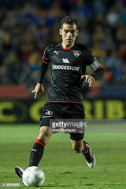 Rafael Marquez of Atlas drives the ball during the 12th round match between Tigres UANL and Atlas as part of the Clausura 2016 Liga MX at...