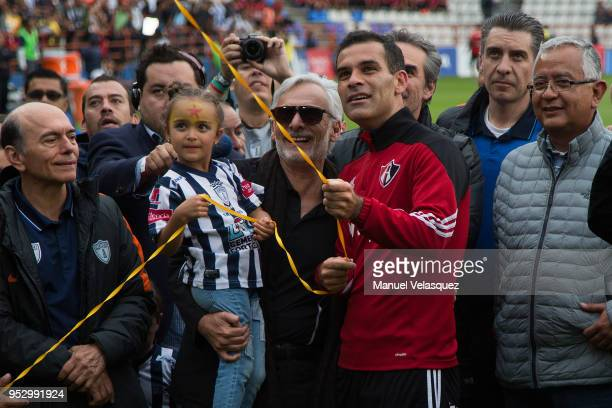 Rafael Marquez of Atlas during his tribute prior the 17th round match between Pachuca and Atlas as part of the Torneo Clausura 2018 Liga MX at...