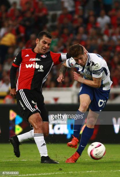 Rafael Marquez of Atlas fights for the ball with Angelo Sagal of Pachuca during the 17th round match between Atlas and Pachuca as part of the Torneo...
