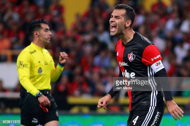 Rafael Marquez of Atlas reacts during the 9th round match between Atlas and Monterrey as part of the Torneo Clausura 2018 Liga MX at Jalisco Stadium...