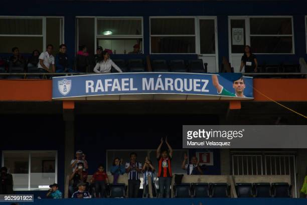 Rafael Marquez of Atlas unveils his name during his tribute prior the 17th round match between Pachuca and Atlas as part of the Torneo Clausura 2018...