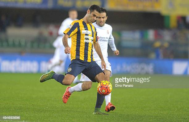 Rafael Marquez of Hellas Verona competes with Giuseppe Rossi of ACF Fiorentina during the Serie A match between Hellas Verona FC and ACF Fiorentina...