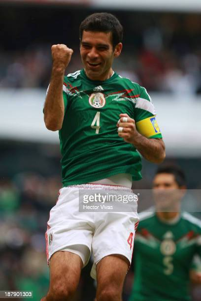 Rafael Marquez of Mexico celebrates a scored goal against New Zealand during a match between Mexico and New Zealand as part of the FIFA World Cup...