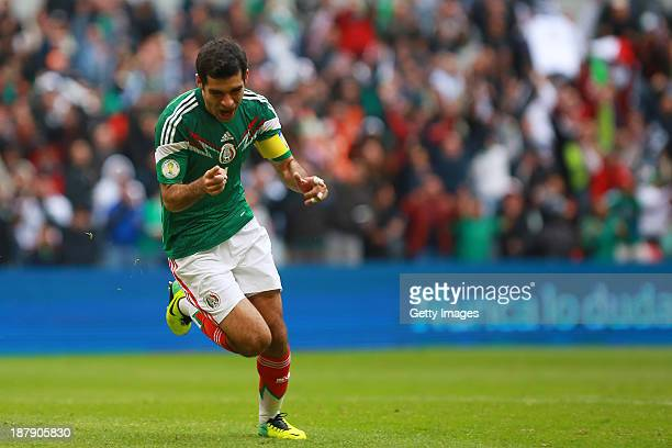 Rafael Marquez of Mexico celebrates during a match between Mexico and New Zealand as part of the FIFA World Cup Qualifiers at Azteca Stadium on...