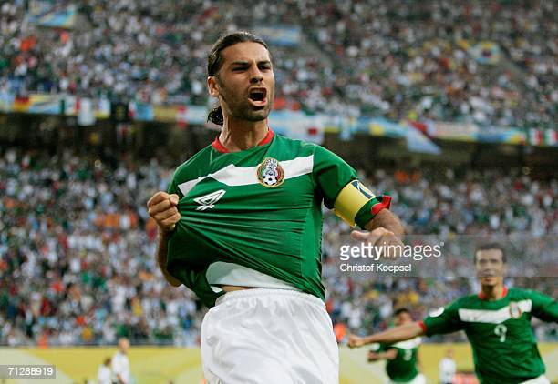 Rafael Marquez of Mexico celebrates scoring the opening goal during the FIFA World Cup Germany 2006 Round of 16 match between Argentina and Mexico...