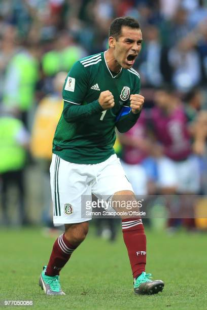 Rafael Marquez of Mexico celebrates their 10 victory over Germany during the 2018 FIFA World Cup Russia group F match between Germany and Mexico at...