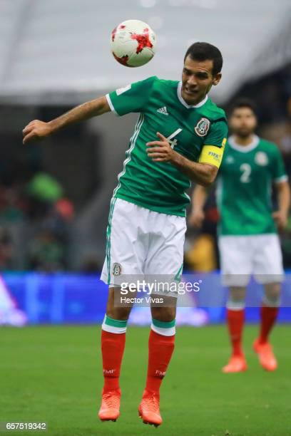 Rafael Marquez of Mexico heads the ball during the fifth round match between Mexico and Costa Rica as part of the FIFA 2018 World Cup Qualifiers at...