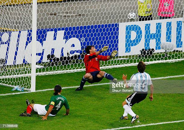 Rafael Marquez of Mexico scores the opening goal during the FIFA World Cup Germany 2006 Round of 16 match between Argentina and Mexico played at the...
