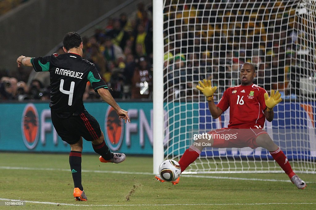 Rafael Marquez of Mexico scores the second goal past Itumeleng Khune of South Africa to equalise during the 2010 FIFA World Cup South Africa Group A match between South Africa and Mexico at Soccer City Stadium on June 11, 2010 in Johannesburg, South Africa.