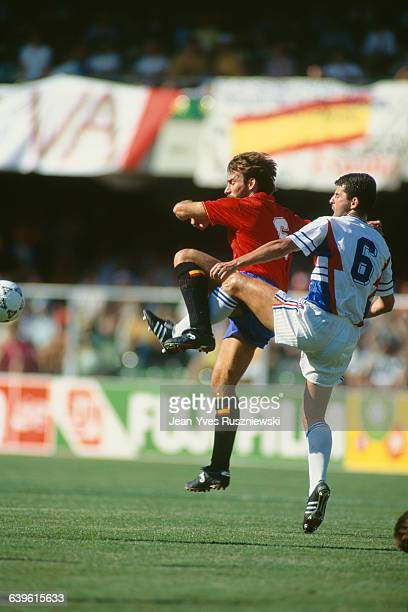 Rafael Martin Vazquez and Avor Jozic during the 1990 Soccer World Cup eightfinals match between Spain and Yugoslavia