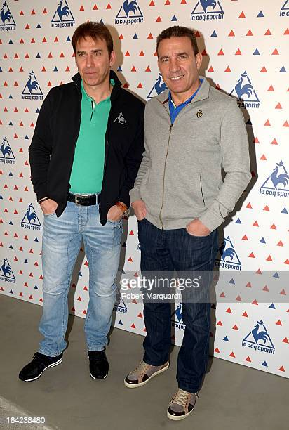 Rafael Martin Vazquez and Francisco Buyo attend a photocall for the 'Le Coq Sportif' flagship store opening on March 21 2013 in Barcelona Spain