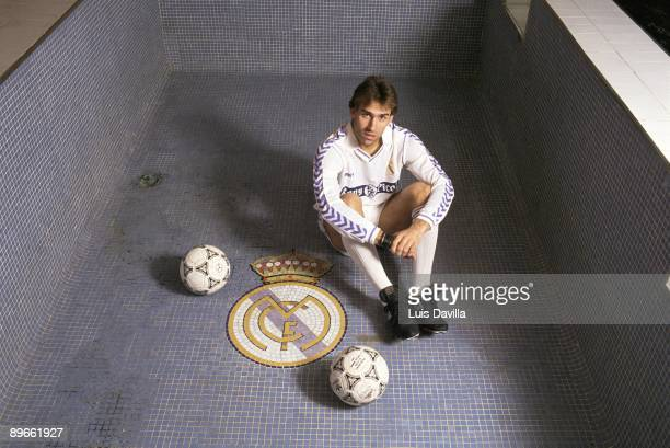 Rafael Martin Vazquez football player Dress with the suit of the Real Madrid inside an empty pool