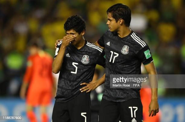 Rafael Martinez of Mexico and Luis Puente of Mexico react at the final whistle during the Final of the FIFA U17 World Cup Brazil 2019 between Mexico...