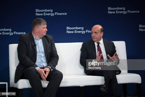 Rafael Mateo chief executive officer for energy at Acciona SA right speaks on a panel during the BNEF Future of Energy Summit in New York US on...
