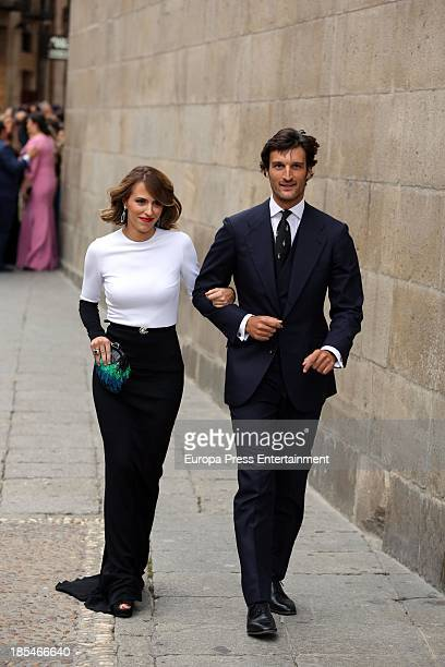 Rafael Medina and Laura Vecino attend the wedding of bullfighter Miguel Angel Perera and Veronica Gutierrez at Old Cathedral on October 19 2013 in...