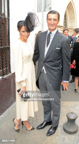Rafael Medina and Laura Vecino attends Casilda Medina and Ignacio de Loyola Crespi de Valldaura's wedding at San Esteban church on November 25 2017...