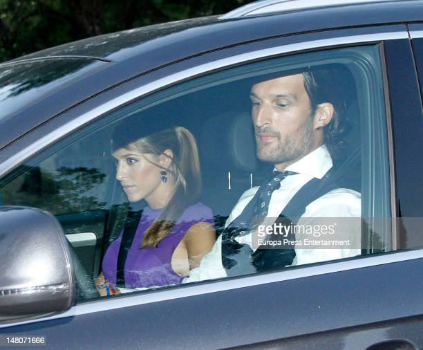 Rafael Medina and Laura Vecino Dukes of Feria attend Cristina Comenges and Diego Gomez wedding at Fincas Villamayor on July 7 2012 in Madrid Spain...